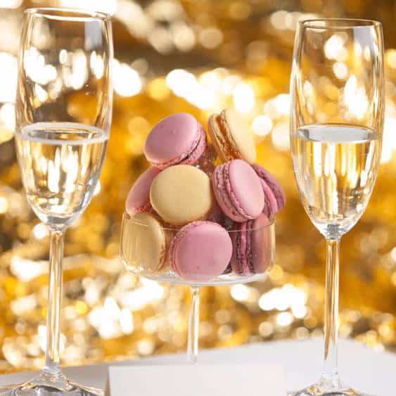 Champagnesmagning med macarons
